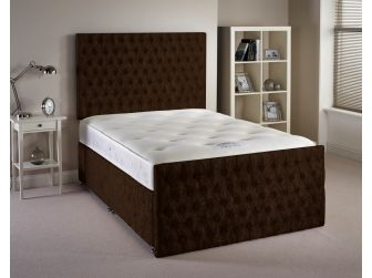 Chocolate Aspire Provincial Velvet Fabric Divan Set with Headboard and Footboard UK Made
