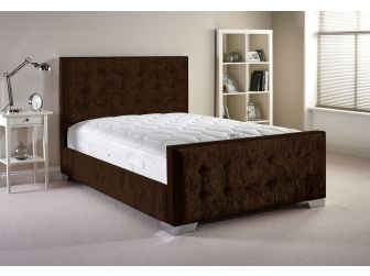 Chocolate Aspire Delaware Bedframe in Velvet Fabric with Headboard and Footboard UK Made