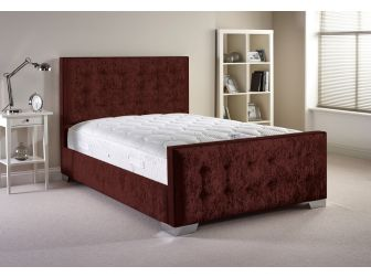 Mulberry Aspire Delaware Bedframe in Velvet Fabric with Headboard and Footboard UK Made