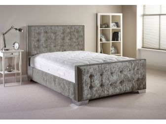 Silver Aspire Delaware Bedframe in Velvet Fabric with Headboard and Footboard UK Made