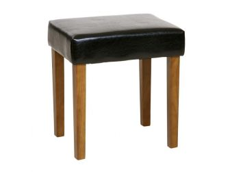 Black Faux Leather Stool With Wood Legs ML200BK-M