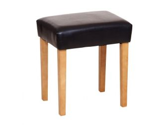 Brown Faux Leather Stool Light Wood Legs ML200BR-L