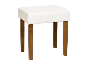 Cream Faux Leather Stool With Wood Legs ML200CR-M