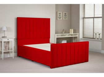 Red Aspire Hampstead Chenille Divan Set With Headboard and Footboard