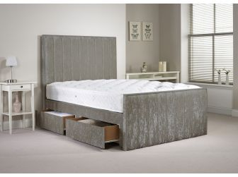 Silver Aspire Hampshire Velvet Divan Set With Headboard and Footboard