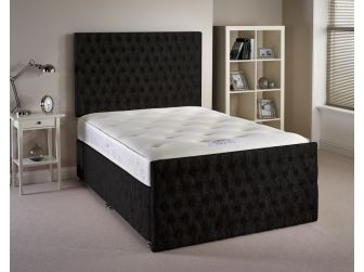 Black Aspire Provincial Velvet Fabric Divan Set with Headboard and Footboard UK Made