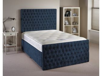 Denim Blue Aspire Provincial Velvet Fabric Divan Set with Headboard and Footboard UK Made