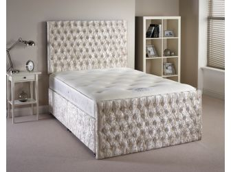 Cream Aspire Provincial Velvet Fabric Divan Set with Headboard and Footboard UK Made
