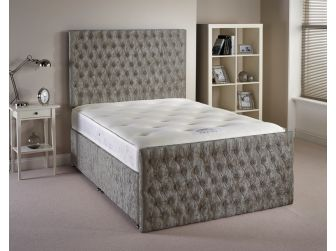 Silver Aspire Provincial Velvet Fabric Divan Set with Headboard and Footboard UK Made