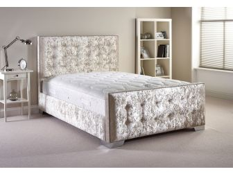 Cream Aspire Delaware Bedframe in Velvet Fabric with Headboard and Footboard UK Made