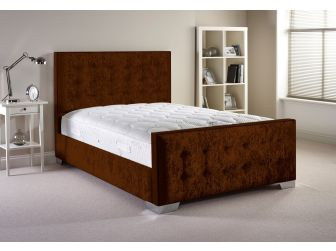 Truffle Aspire Delaware Bedframe in Velvet Fabric with Headboard and Footboard UK Made