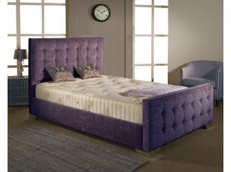 Purple Aspire Delaware Bedframe in Chenille Fabric with Headboard and Footboard UK Made