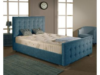 Teal Aspire Delaware Bedframe in Chenille Fabric with Headboard and Footboard UK Made