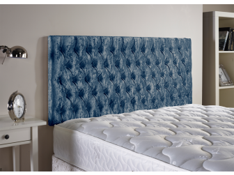 Blue Aspire Neon Velvet Fabric Headboard UK Made