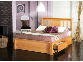 American Oak Bed Frame With Drawers VESTA